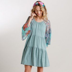 Umgee Floral Animal Mixed Print Dusty Mint…